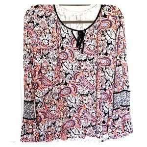 Bell-Sleeved Paisley Blouse